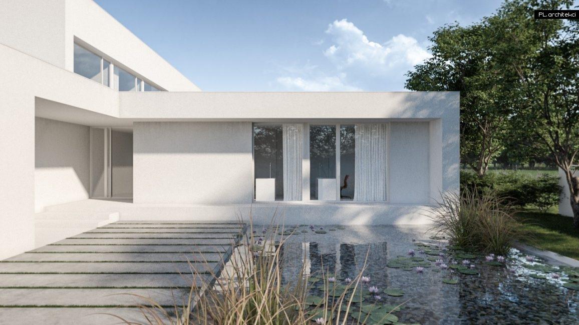 nowoczesny dom z płaskim dachem i basenem