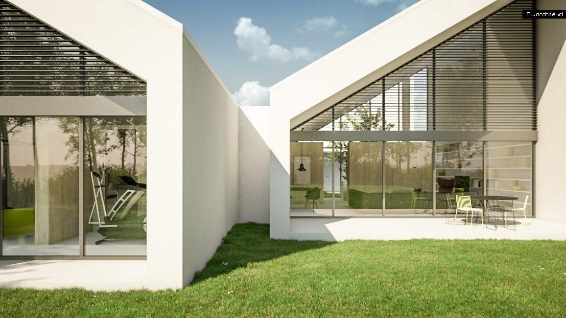Nowoczesny dom jednorodzinny ze skośnym dachem   Szreniawa