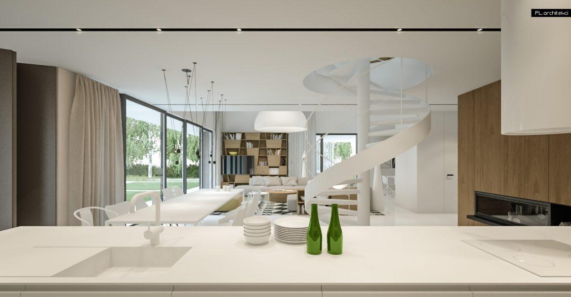 Nowoczesne białe wnętrze domu jednorodzinnego LUS_3: wyspa kuchenna i salon z jadalnią | Lusówko