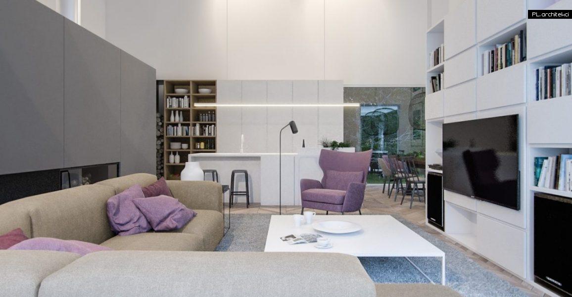 Nowoczesne wnętrze domu jednorodzinnego: salon z jadalnią i kuchnią | Poznań