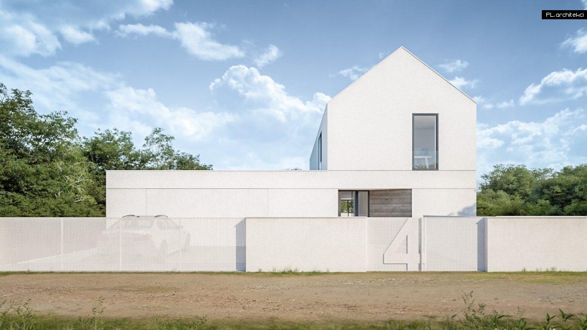 Nowoczesny dom jednorodzinny z białym dachem