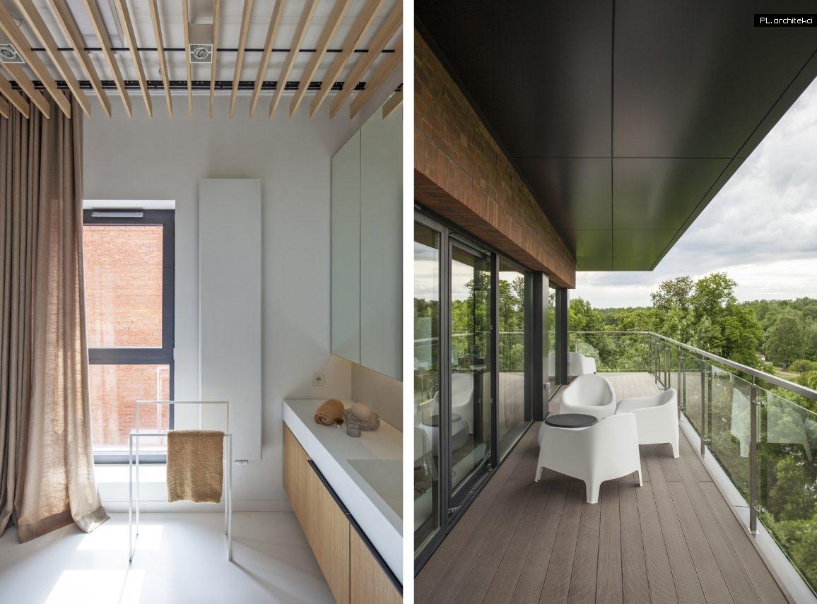 Nowoczesne wnętrze apartamentu: łazienka, balkon | Warzelnia, Poznań