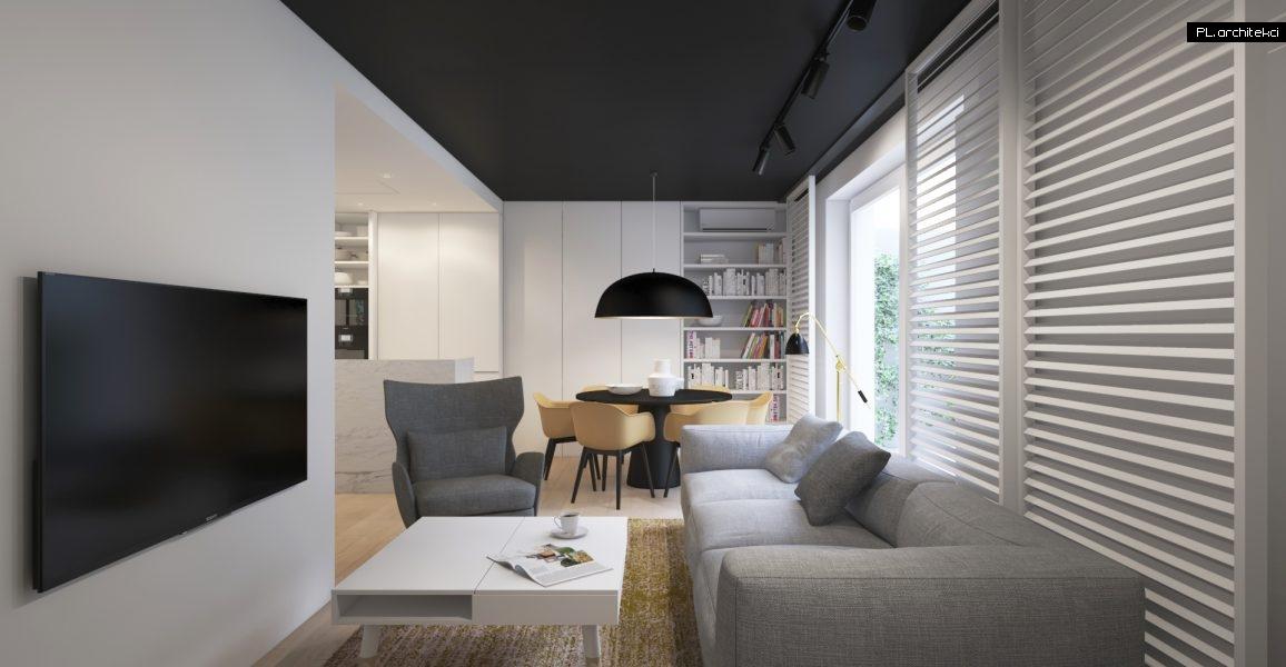 Wnętrze dwupoziomowego apartamentu: salon z jadalnią | Poznań