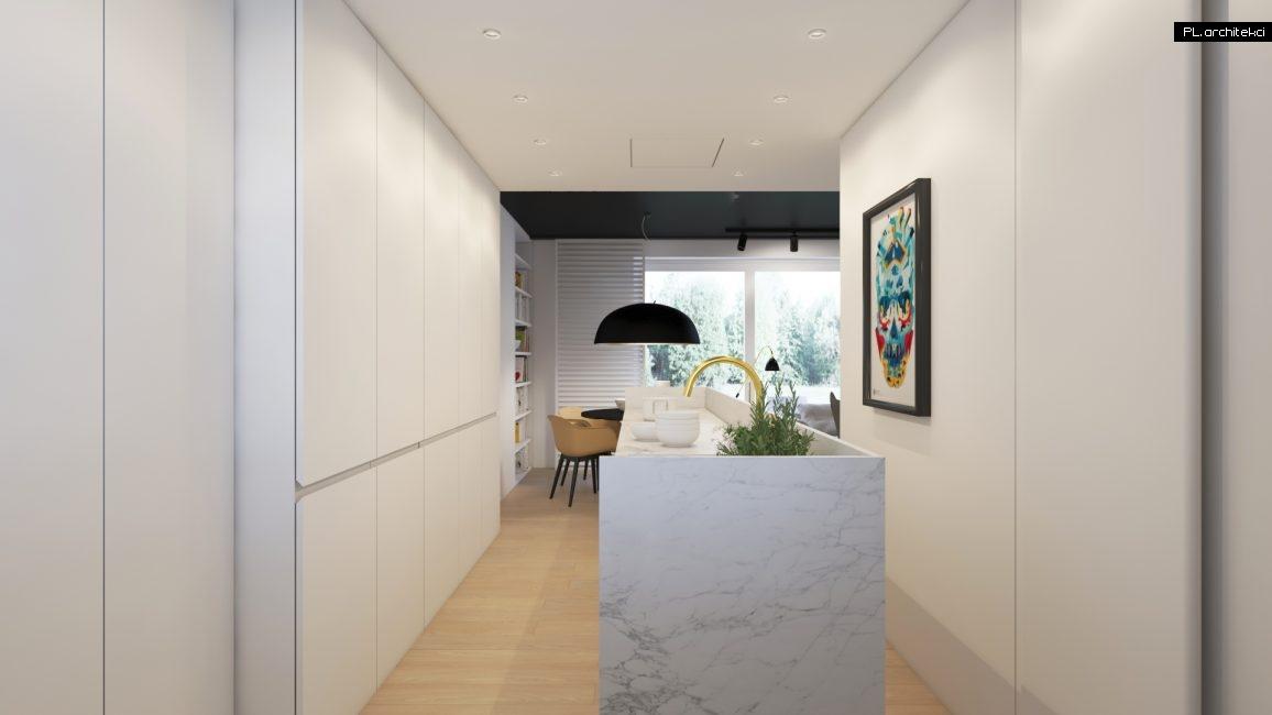 Wnętrze dwupoziomowego apartamentu: kuchnia | Poznań