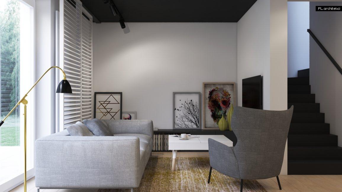 Wnętrze dwupoziomowego apartamentu: salon | Poznań