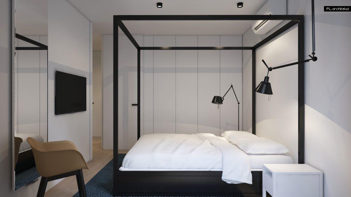 Wnętrze dwupoziomowego apartamentu: sypialnia | Poznań