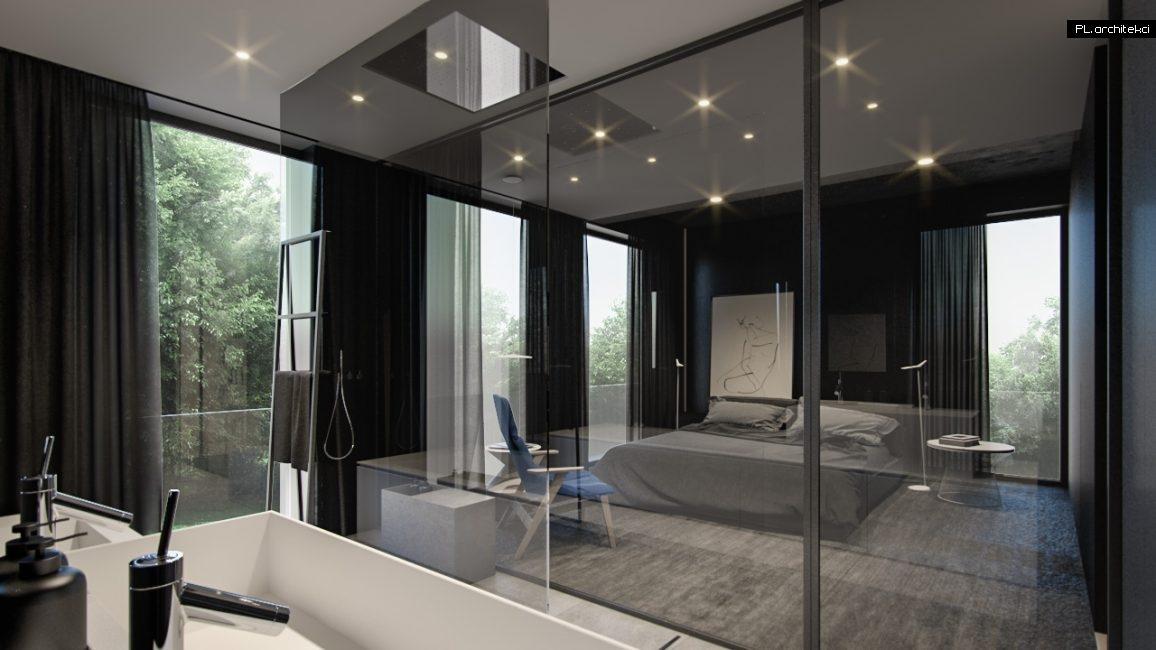 Nowoczesne wnętrze apartamentu: sypialnia z łazienką | Poznań