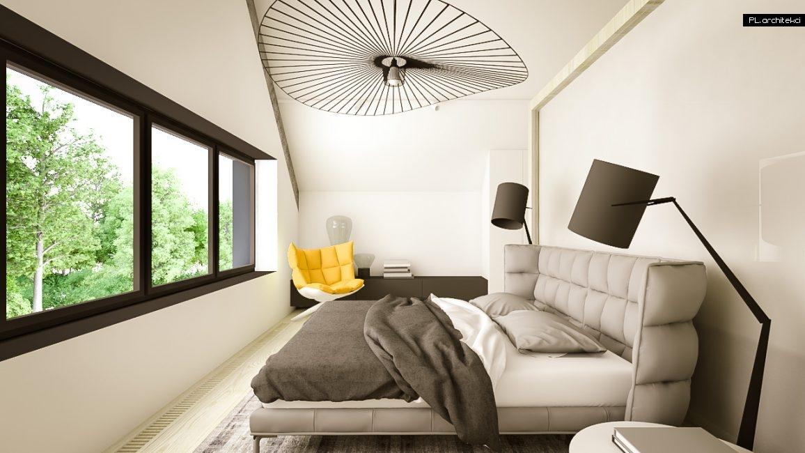 Nowoczesne wnętrze domu jednorodzinnego: sypialnia | Puszczykowo
