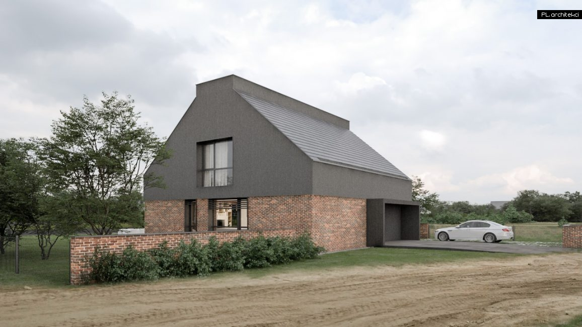 dom ze skosnym dachem nowoczesny